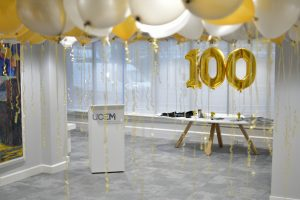 An empty Wells Suite with centenary balloons