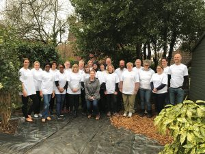 Group photo of staff prior to starting the first of UCEM's centenary volunteering program at Purley Park Trust