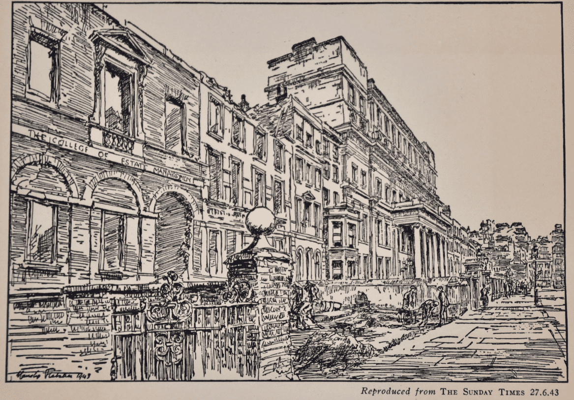 Drawing of Lincoln's Inn Fields by Mr Hanslip Fletcher