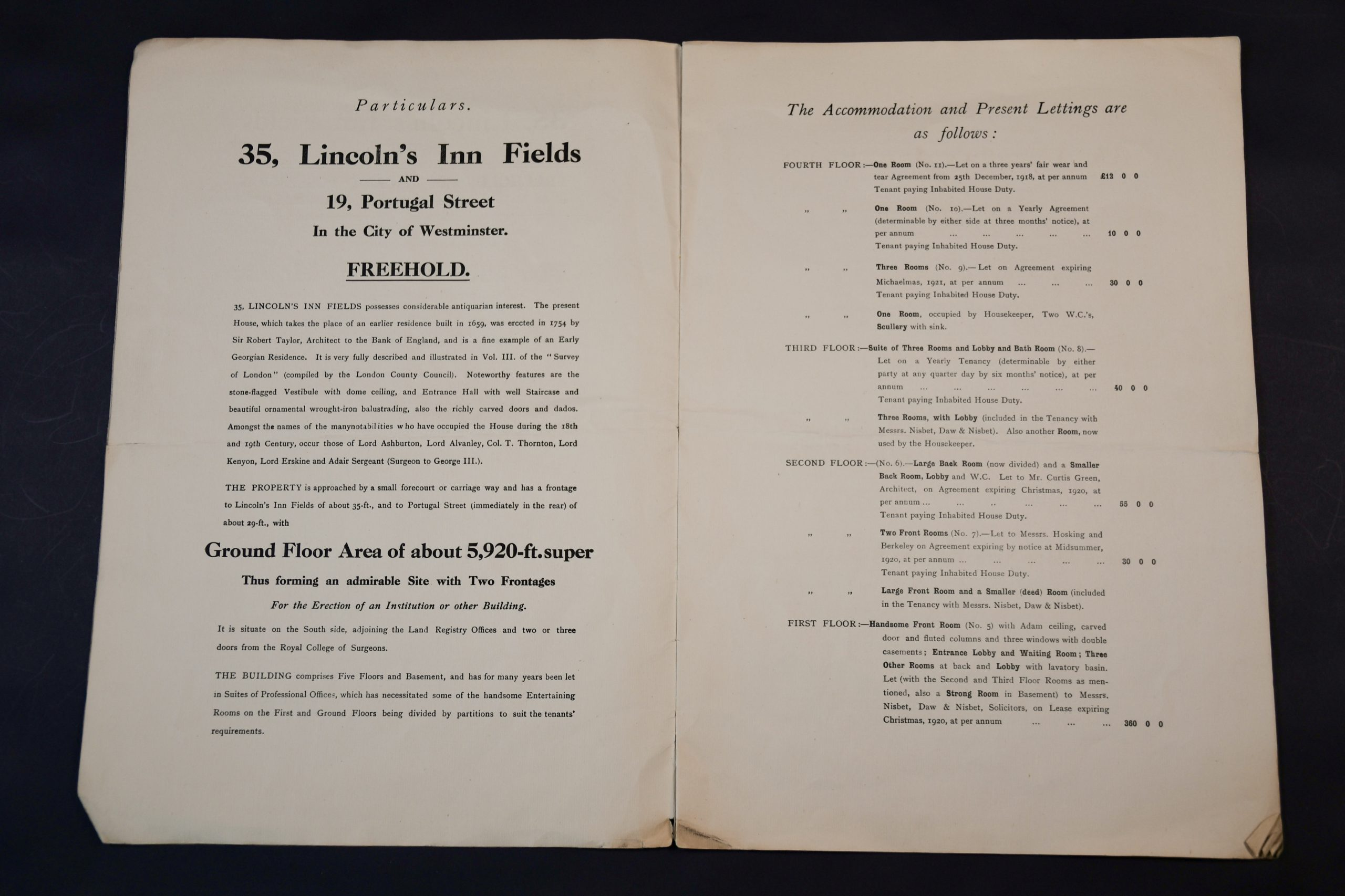 35 Lincoln's Inn Fields premises purchase booklet