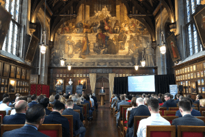 UCEM Principal, Ashley Wheaton, addresses the attendees in The Great Hall at Lincoln's Inn