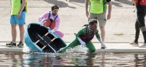 Charlie Pinnell taking to the water for the Coracle World Championships