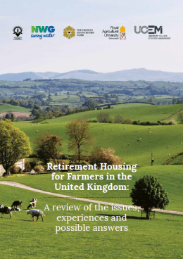 Front cover of the Retirement Housing for Farmers report. Cows in the countryside.