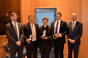 The UCEM Property 2019 Award winners with UCEM Chairman, John Gellatly, and UCEM Principal, Ashley Wheaton