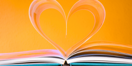 Pages in a book shaped to look like a heart
