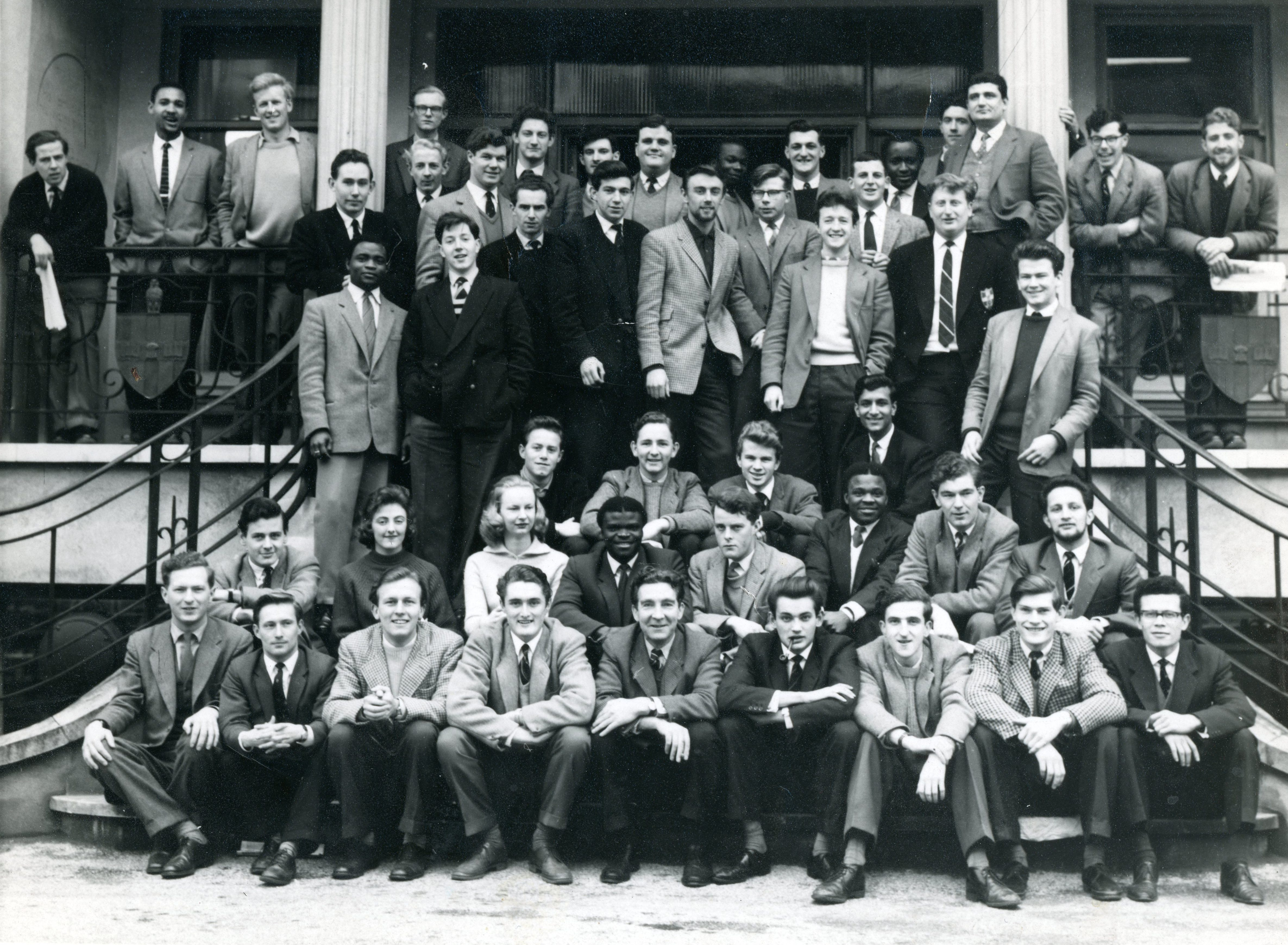 Students pictured outside CEM's St Alban's Grove premises in 1962 featuring UCEM alumnus Michael Sander