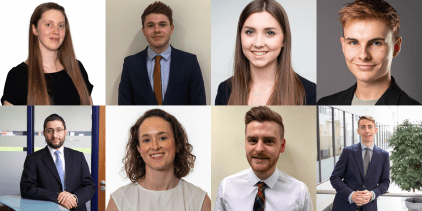 The eight UCEM alumni and apprentice nominees at the RICS Matrics Surveyor of the Year Awards 2019