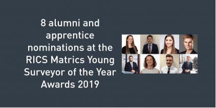 News graphic about nominees at the RICS Matrics Young Surveyor of the Year Awards 2019