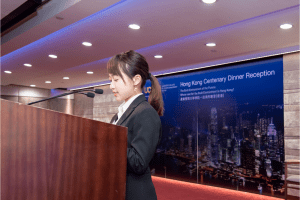 A CityU student gives a speech thanking UCEM on behalf of her peers for the CityU scholarships