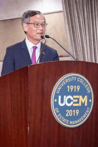 Honorary Tony Tse Wai Chuen speaking at our Hong Kong centenary event