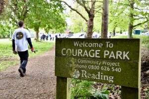 Courage Park sign
