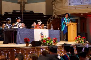Guest Speaker, Craig Bennett, addressing graduands at the December 2019 Graduation