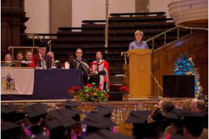 Guest Speaker, Gillian Charlesworth, addressing graduands at the December 2019 Graduation