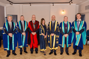 UCEM Vice Chair, Dr Stephen Jackson, Deputy Principal, Jane Fawkes, and Principal, Ashley Wheaton, with the newly instated Honorary Fellows