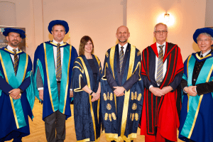 UCEM Deputy Principal, Jane Fawkes, Principal, Ashley Wheaton, and Vice Chair, Dr Stephen Jackson, with three recipients of our inaugural Honorary Degrees