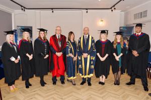 UCEM Vice Chair, Dr Stephen Jackson, Deputy Principal, Jane Fawkes, and Principal, Ashley Wheaton, with postgraduate award winners