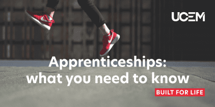 Image of someone jumping on concrete with the title: Apprenticeships: what you need to know